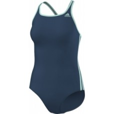 adidas 3-Stripes Swimsuit - Steel/Ice Green